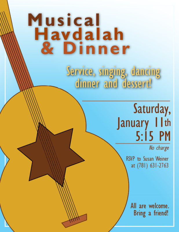 Musical Havdalah & Dinner - Jan. 11