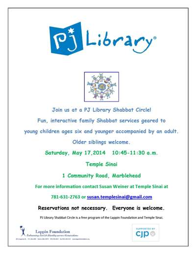PJ Library Shabbat Circle - Saturday, May 17th