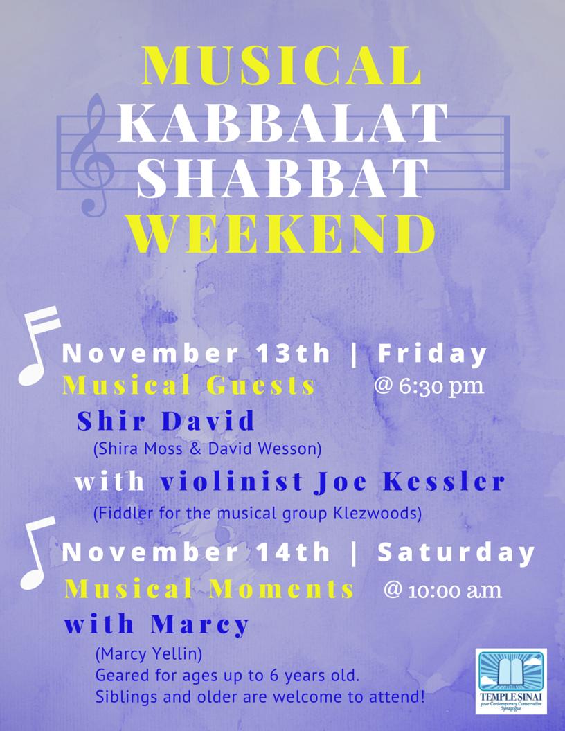 Musical Kabbalat Shabbat Weekend!