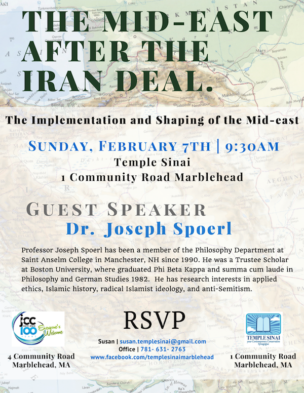 The Mid-east After the Iran Deal with Guest Speaker Dr. Joseph Spoerl